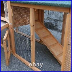 78.7 Large Wooden Rabbit Hutch Bunny House Pet Cage with 2 Runs Outdoor Hen Coop