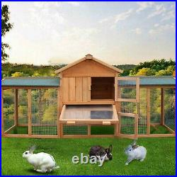 79 Large Wooden Rabbit Hutch Chicken Coop House Bunny Hen Pet Backyard Run Cage
