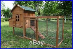 80'' Wooden Chicken Coop Pet Hutch Hen House Nest Box Pet Run Cage Large Deluxe