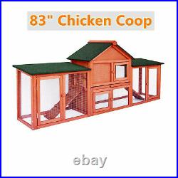 83'' Rabbit Hutch Chicken Coop Wooden Backyard Pet Cage with Nesting Box&Ramp US