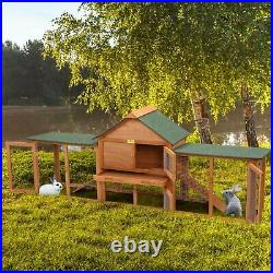 84 Rabbit Hutch Cage Chick Coop House 2-Story Wooden Hutch Backyard Outdoors