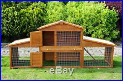 85x25x39inch Wooden Rabbit Hutch Poultry Small Animal Cage with Outdoor Run