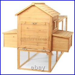 90'' Large Chicken Coop Hen House Poultry Animal Cage Rabbit Hutch Wooden withRun