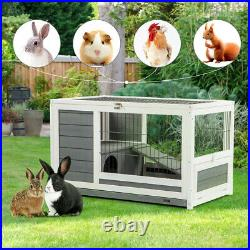 AECOJOY 35.4 Wooden Rabbit Hutch Chicken Coop Small Animal Pet House with Run