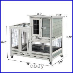 AECOJOY Wooden Rabbit Hutch 4 Casters Chicken Coop Small Animal House with Wheels