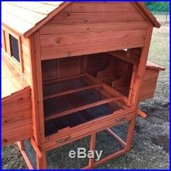 ALEKO Chickens Rabbits Coop Cage Pet House Wooden Poultry Hutch 143.7x68.5x66.51