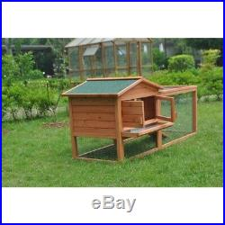 ALEKO Wooden Cage Wooden Pet 62x23x30 inch House Poultry Hutch Rabbits Chickens