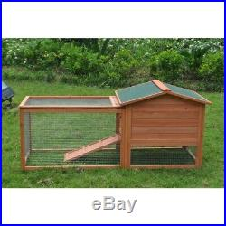 ALEKO Wooden Pet House Poultry 62x23x30 inch Hutch Rabbits Chickens Wooden Cage