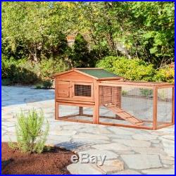 ALEKO Wooden Pet House Poultry Hutch Rabbits Chickens Wooden 62x23x30 inch Cage