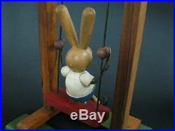 Antique Early 1940's Wooden Toy Swinging Rabbit Cradle Swing Painted Wood See