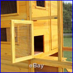 Cat Cage for Outdoor Cats Enclosure Run withShelter and Stair Wooden Animal Cage
