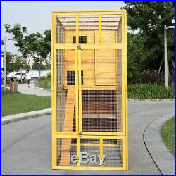 Cat House Outdoor Run Wooden Cat Rabbit Cage withShelter&Stair For Outside Fun Run