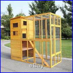 Cat House Outdoor Run Wooden Cat Rabbit Home Outside Enclosure Run Animal Cage
