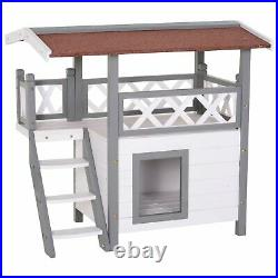 Cat Kennel House Wooden Play Area Indoor/Outdoor Balcony Hiding Enclosure White