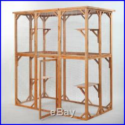 Cat Wooden House Small Animal Outdoor Pen Cage Dog Cat Play Enclosure withShelves