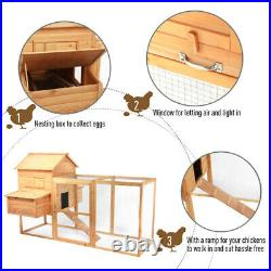 Chicken Coop Hen Cage Poultry Hutch Nesting Box Wooden Large Rabbit House