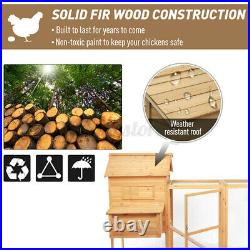Chicken Coop Hen Cage Poultry Hutch Nesting Box Wooden Large Rabbit House Door
