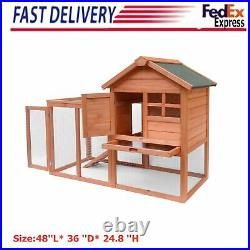 Eco-friend Rabbit Hutch Large Bunny House Wooden Chicken Coop withRun Ramp Outdoor