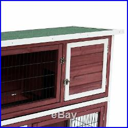 Elevated Rabbit Hutch Bunny Cage 2-Tier Wooden Small Pet Habitat with Tray Ramp