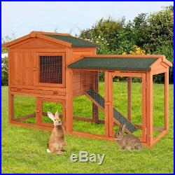 Esright Rabbit Hutch 54.3'' Rabbit Cage Outdoor Large Wooden Bunny House