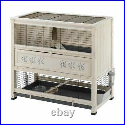 Indoor Rabbit Hutch Wooden Home Guinea Pig 2 Levels Accessories Stable Quality
