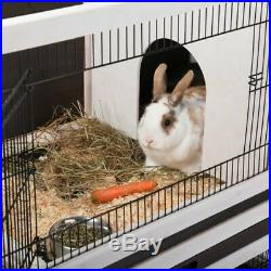 Indoor Wooden Cage Rabbits Guinea Pigs Mesh Roof Removable Trays 2 Levels