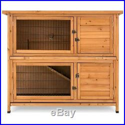 Large 2 Level Outdoor Wooden Pet Rabbit Hutch Animal Cage Guinea Pig Ferret Home