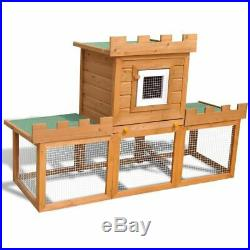 Large 56 Wooden Rabbit Hutch Chicken Coop Hen Pet House Poultry Wood Cage