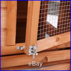 Large 58 Wooden Rabbit Hutch Chicken Coop Bunny Hen Animal Cage House withRun