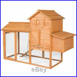 Large 80 Outdoor Wooden Chicken Coop House Wire Cage Run Nesting Box Rabbit New