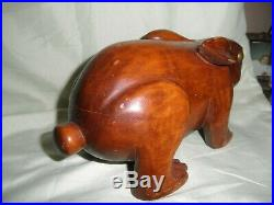 Large Antique Japanese Hand Carved Wooden Rabbit Hare Figure Statue