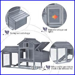 Large Chicken Coop Grey Wooden Country Poultry House Ark Hen Bunny Hutch Run