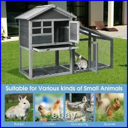 Large Chicken Coop Hen House Animal Cage Rabbit Hutch Wooden with Run Ramp