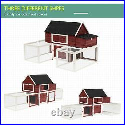Large Chicken Coop Hen House Wooden Backyard Poultry Cage with Nesting Box Run