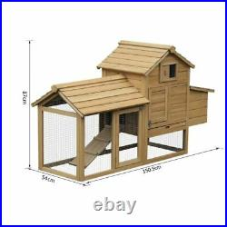 Large Chicken Coop Wooden Country Poultry House Ark Hen Bunny Rabbit Hutch Run