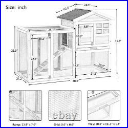 Large Chicken Coop Wooden Rabbit Hutch Bunny House Small Animal Cage Run Ramp
