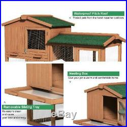 Large Durable Wooden Chicken CoopBunnyRabbit Hutch With Small Animal Cage House