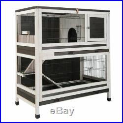 Large Indoor Wooden Rabbit Guinea Pig Hutch Small Animal Pet Cage House 48HR