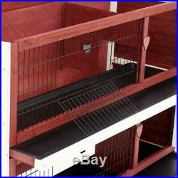 Large Rabbit Hutch Outdoor Wooden 2 Tier Elevated Bunny Guinea Pigs Cage House