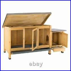 Large Rabbit Hutch Ranch Style Wooden Small Pet Easy Assemble Raised Quality