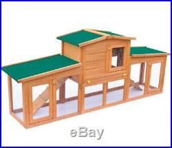 Large Rabbit Hutch With Ramp Wooden Guinea Pig Cage Bunny Pen Pet House