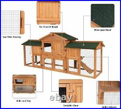 Large Rabbit Hutch Wooden Outdoor Bunny Poultry Cage Garden Backyard Chick Coop