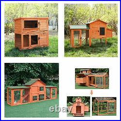 Large Wooden Backyard Chicken Coop Hen House Cage Rabbit Hutch with Tray Ramp US