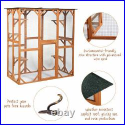 Large Wooden Cat Enclosure Outdoor Cat Cage with 6 Platforms for Multiple Cats