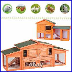 Large Wooden Chicken Coop Backyard Hen House Poultry Rabbit Hutch Nesting Box US