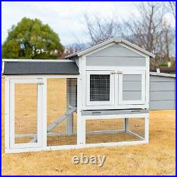 Large Wooden Chicken Coop Outdoor Hen House Rabbit Hutch Cage with Run Ramp Grey