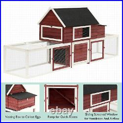 Large Wooden House Chicken Coop Combo Backyard Poultry Cage with Nesting Box Run