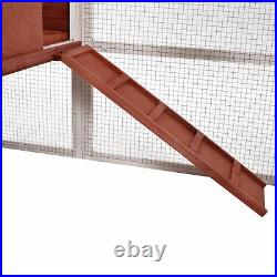 Merax 74.8 Chicken Coop Wooden Rabbit Hutch Bunny Cage withRamp and Tray Nest Box