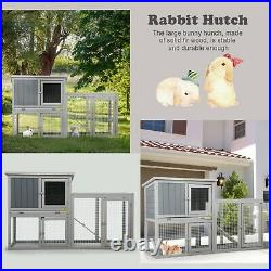 NEW 54.7 Outdoor Wooden Rabbit Hutch Pet Bunny House Cage 3 Doors& Tray&Tunnel