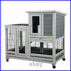 NEW Wooden Rabbit Hutch Rolling Large Bunny Cage Removable Small Animal House